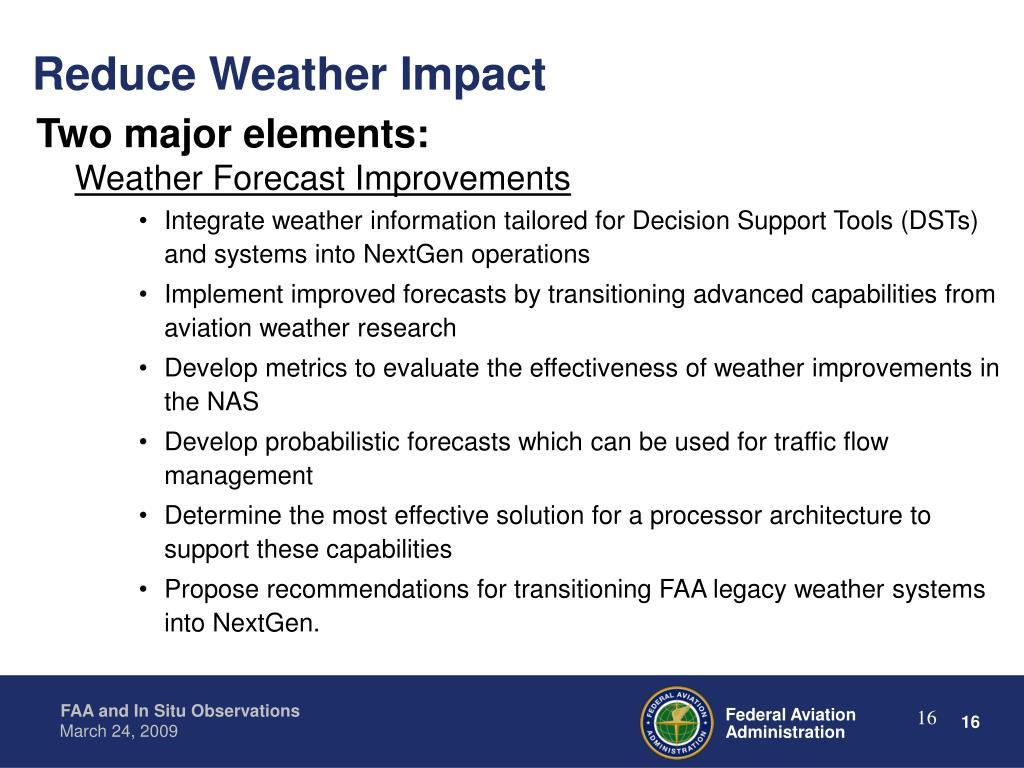 Reduce Weather Impact