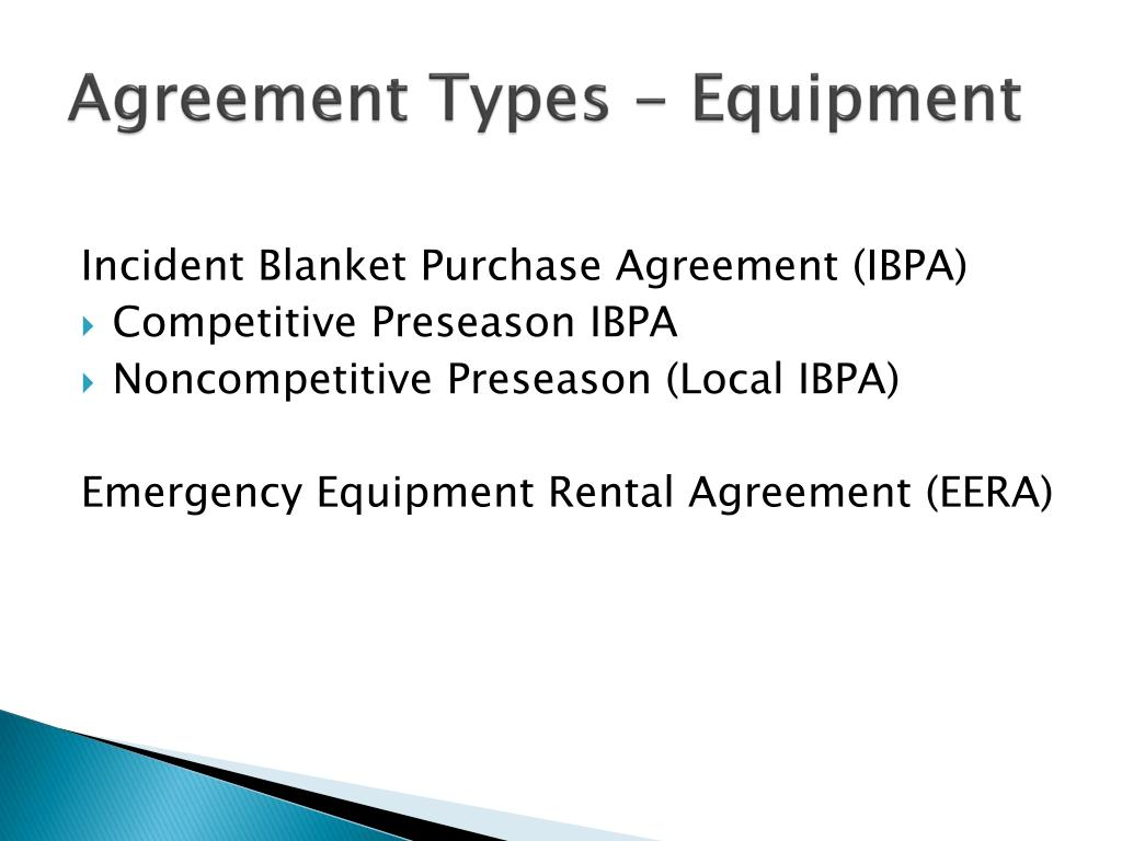 Agreement Types - Equipment