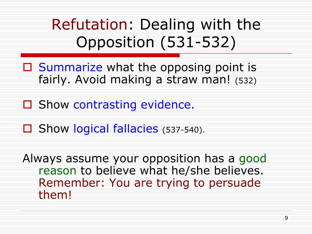 dealing with the opposition