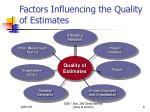 factors influencing the quality of estimates