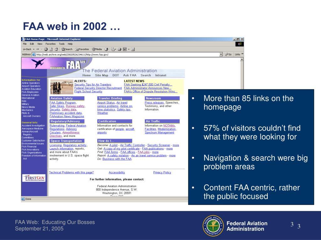 FAA web in 2002 …