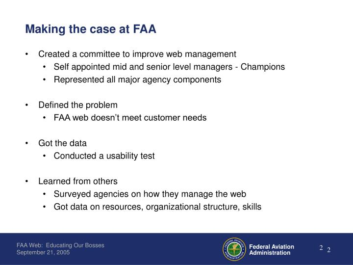 Making the case at faa
