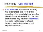 terminology cost incurred