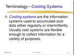 terminology costing systems