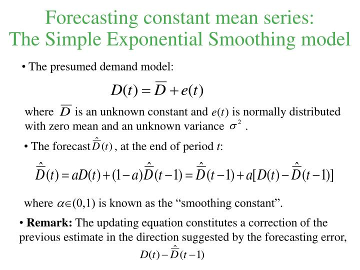 forecasting weighted mean and exponential smoothing 1 introductionan exponentially weighted moving average is a means of smoothing random fluctuations that has the following desirable properties: (1) declining weight is put on older data, (2) it is extremely easy to compute, and (3) minimum data is required.