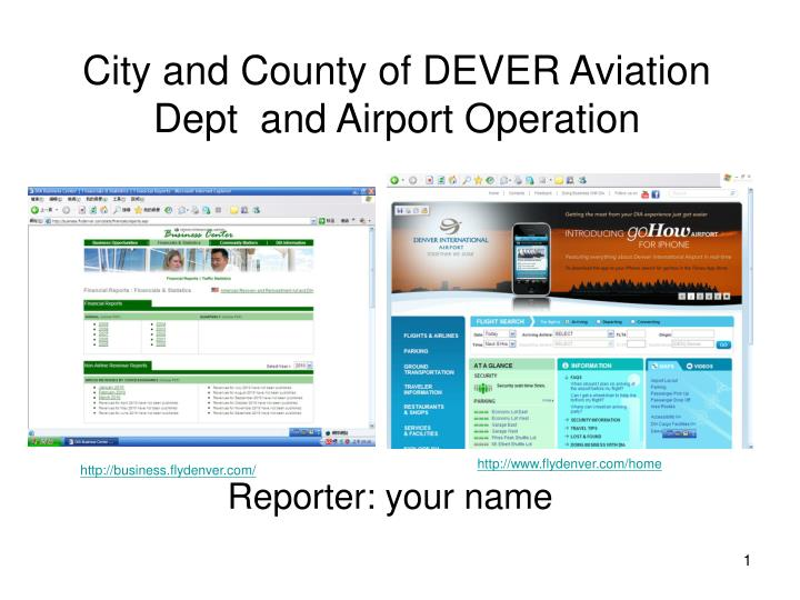 City and county of dever aviation dept and airport operation