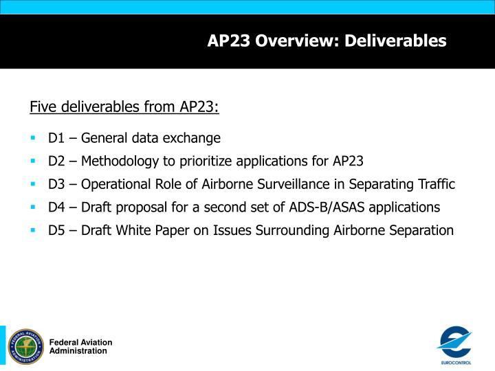 Ap23 overview deliverables