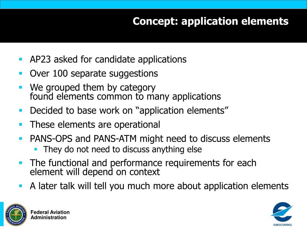 Concept: application elements