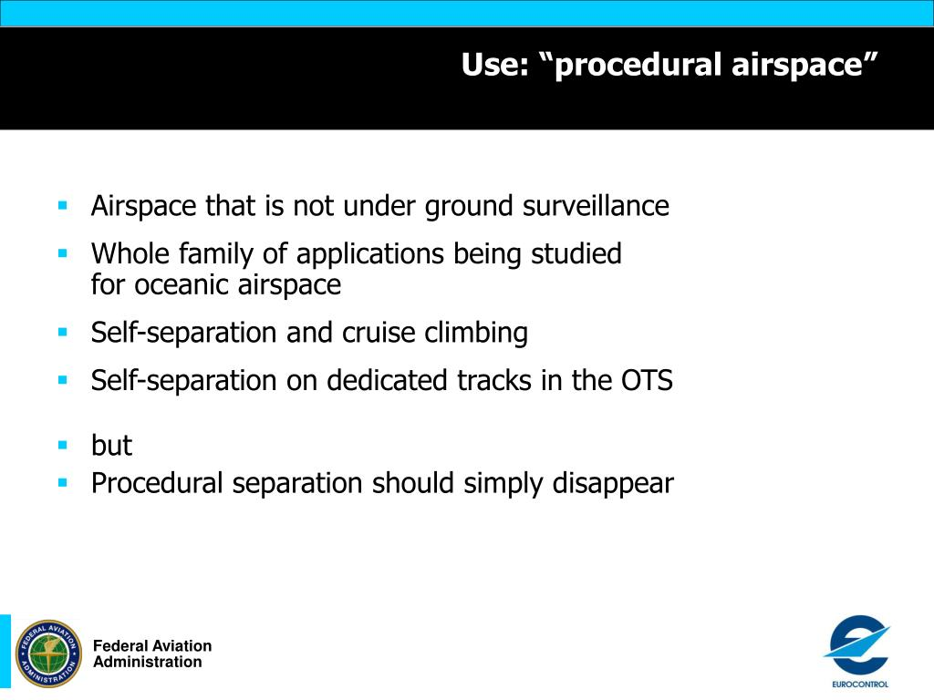 """Use: """"procedural airspace"""""""