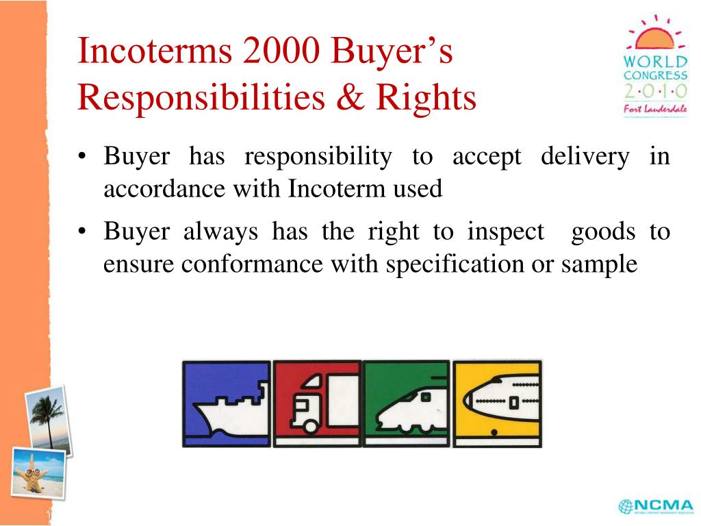 Incoterms 2000 Buyer's Responsibilities & Rights