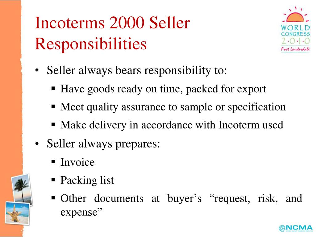 Incoterms 2000 Seller Responsibilities