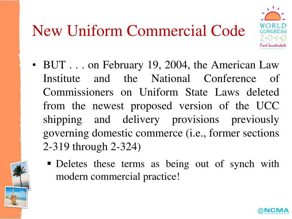New Uniform Commercial Code
