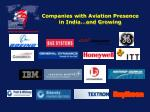 companies with aviation presence in india and growing