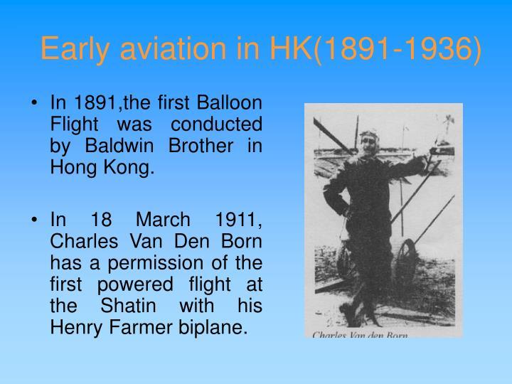 Early aviation in hk 1891 1936