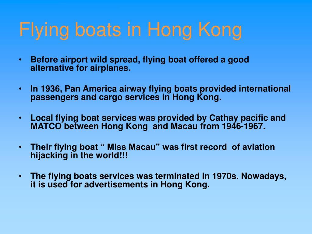 Flying boats in Hong Kong