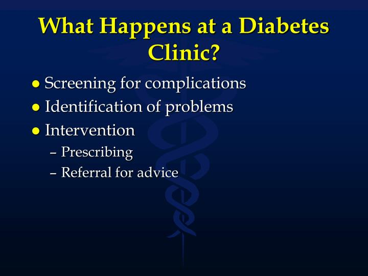 What happens at a diabetes clinic