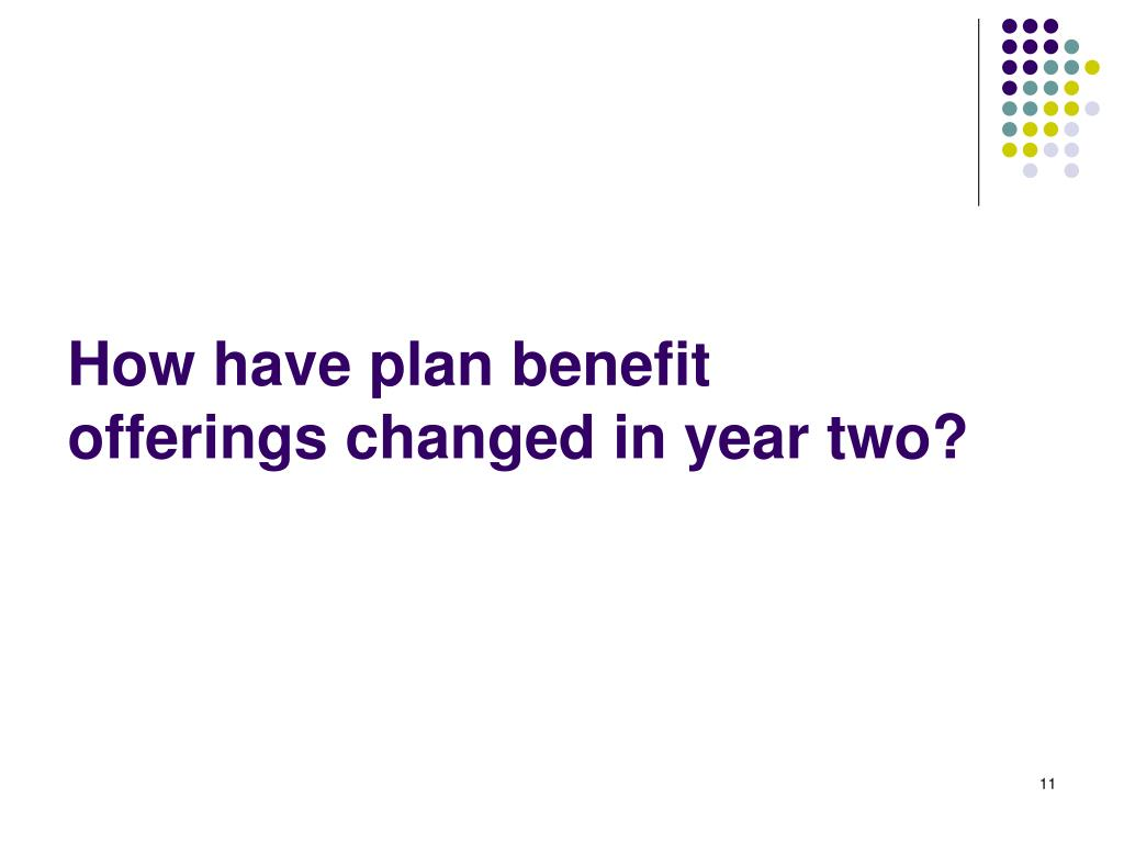 How have plan benefit offerings changed in year two?