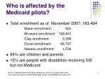 who is affected by the medicaid pilots