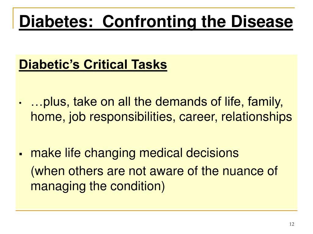 Diabetes:  Confronting the Disease
