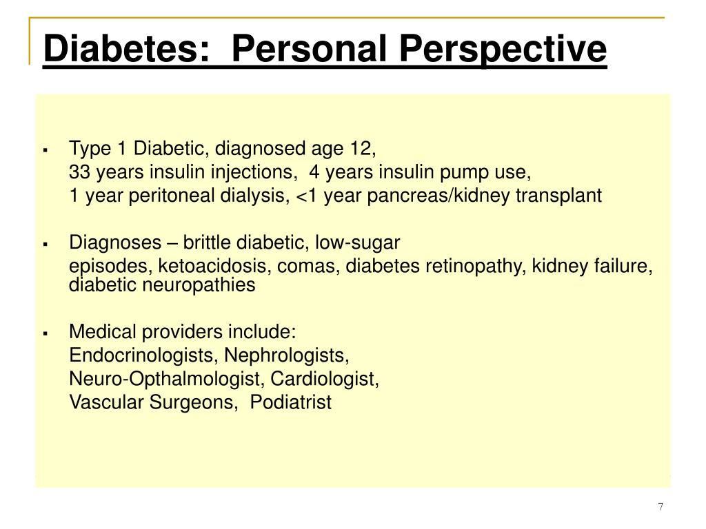Diabetes:  Personal Perspective
