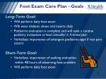 foot exam care plan goals