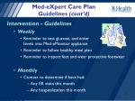 med expert care plan guidelines cont d