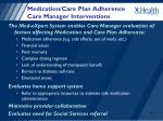 medication care plan adherence care manager interventions