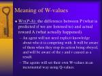 meaning of w values
