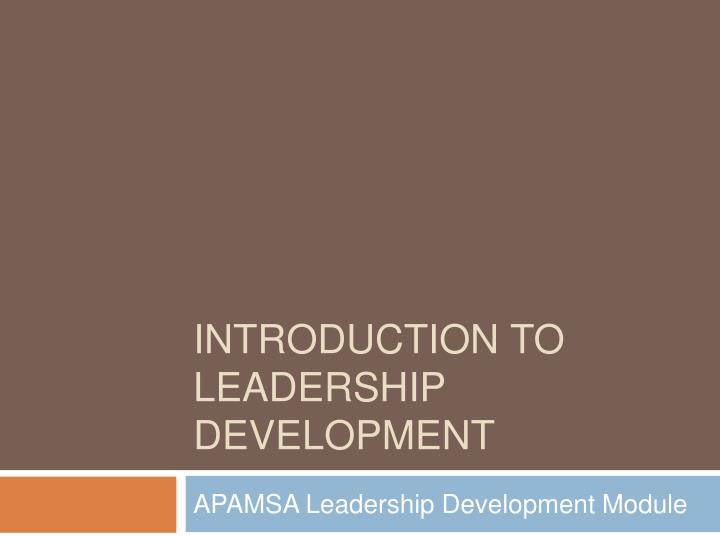 introduction to leadership development n.