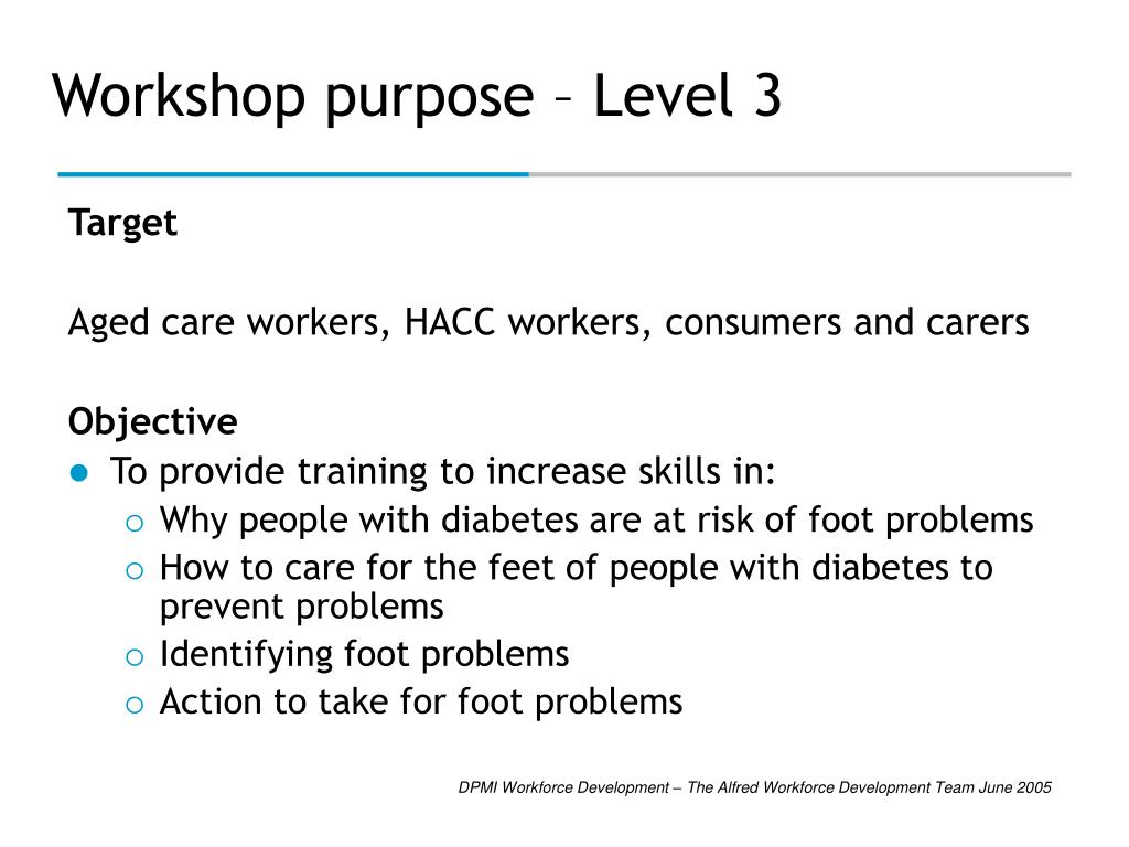Workshop purpose – Level 3