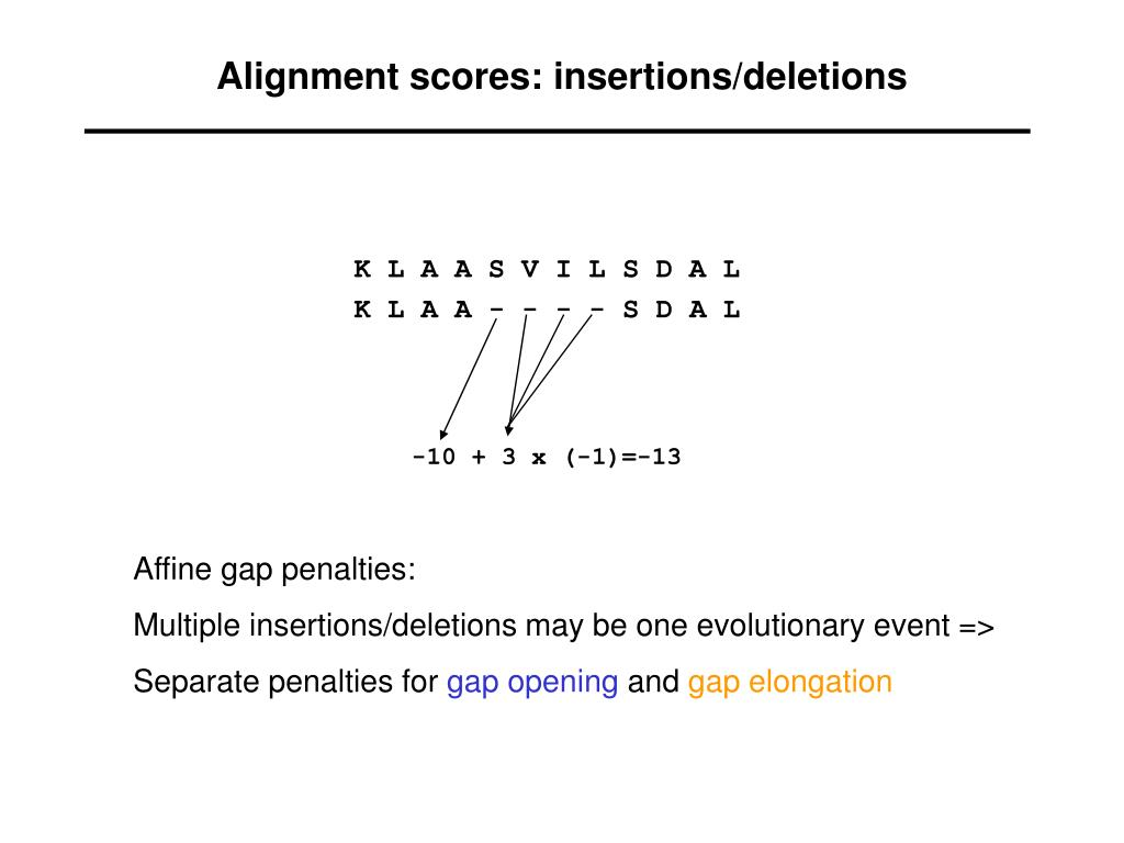Alignment scores: insertions/deletions