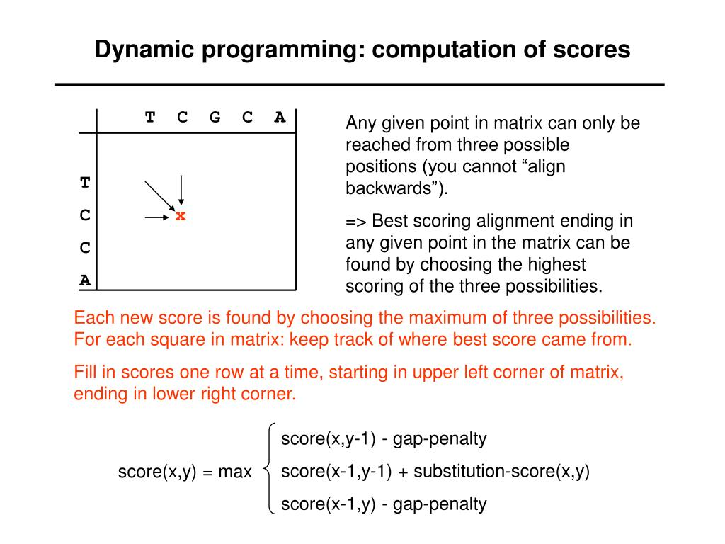 Dynamic programming: computation of scores