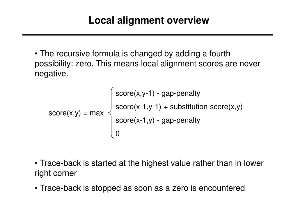 Local alignment overview