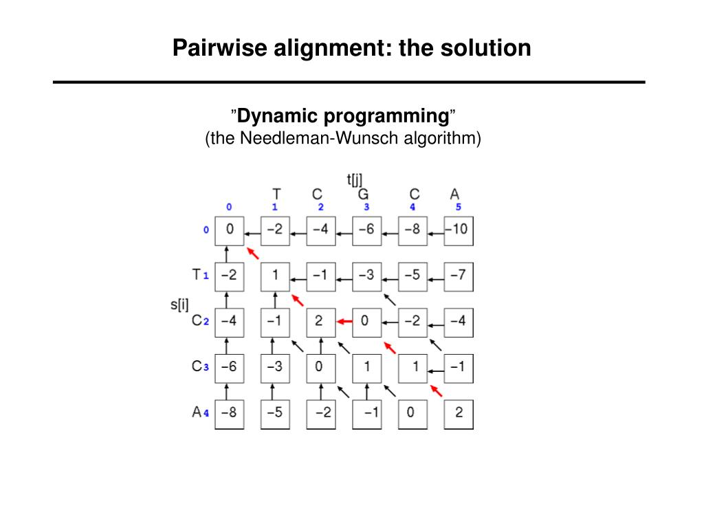 Pairwise alignment: the solution