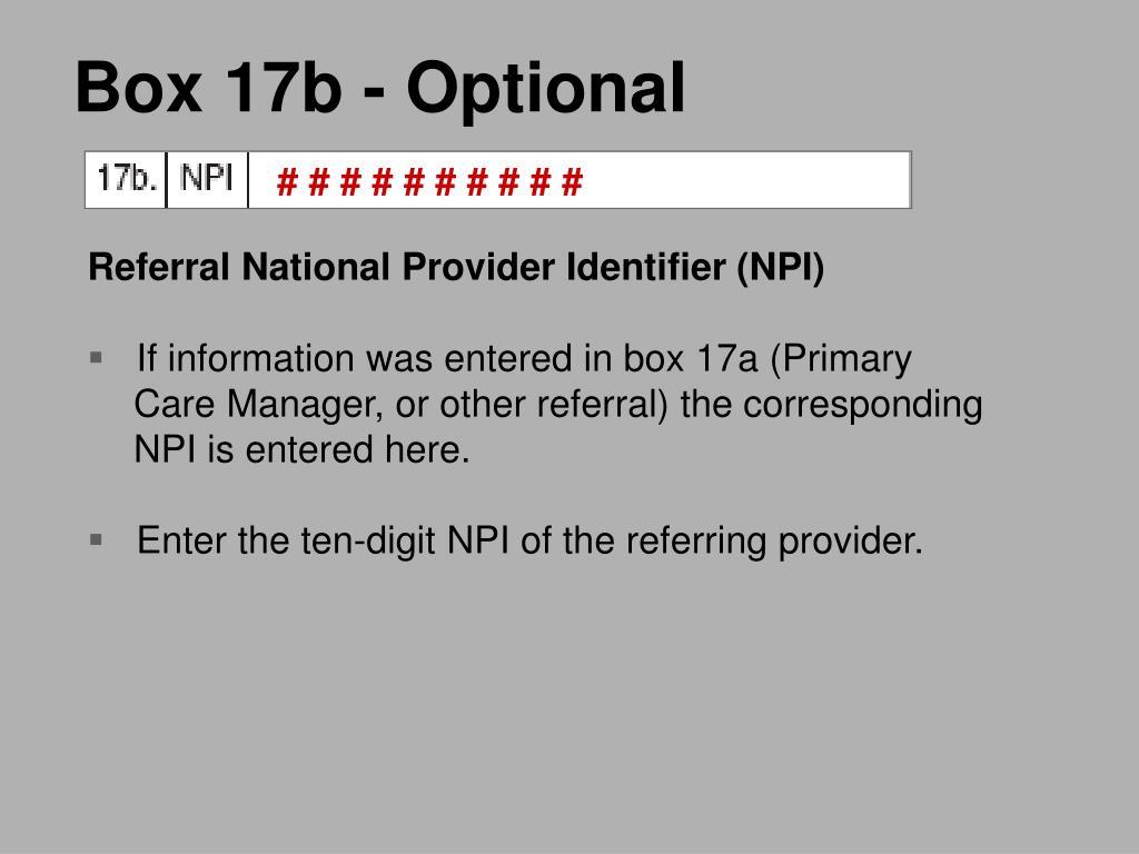 Box 17b - Optional