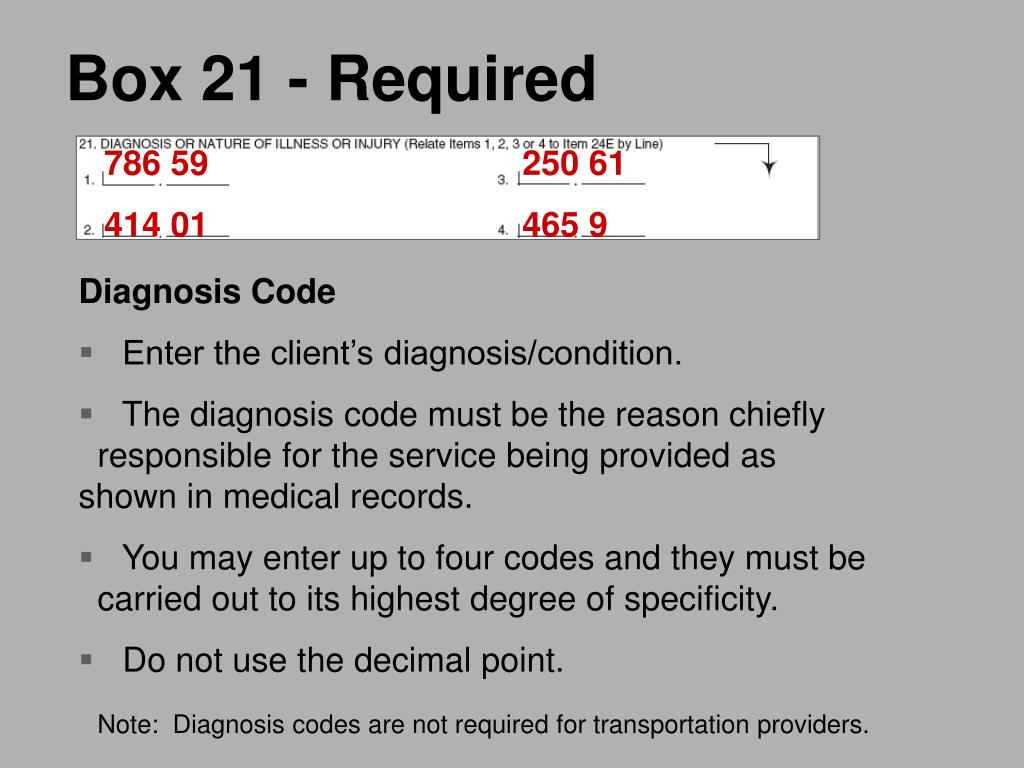 Box 21 - Required