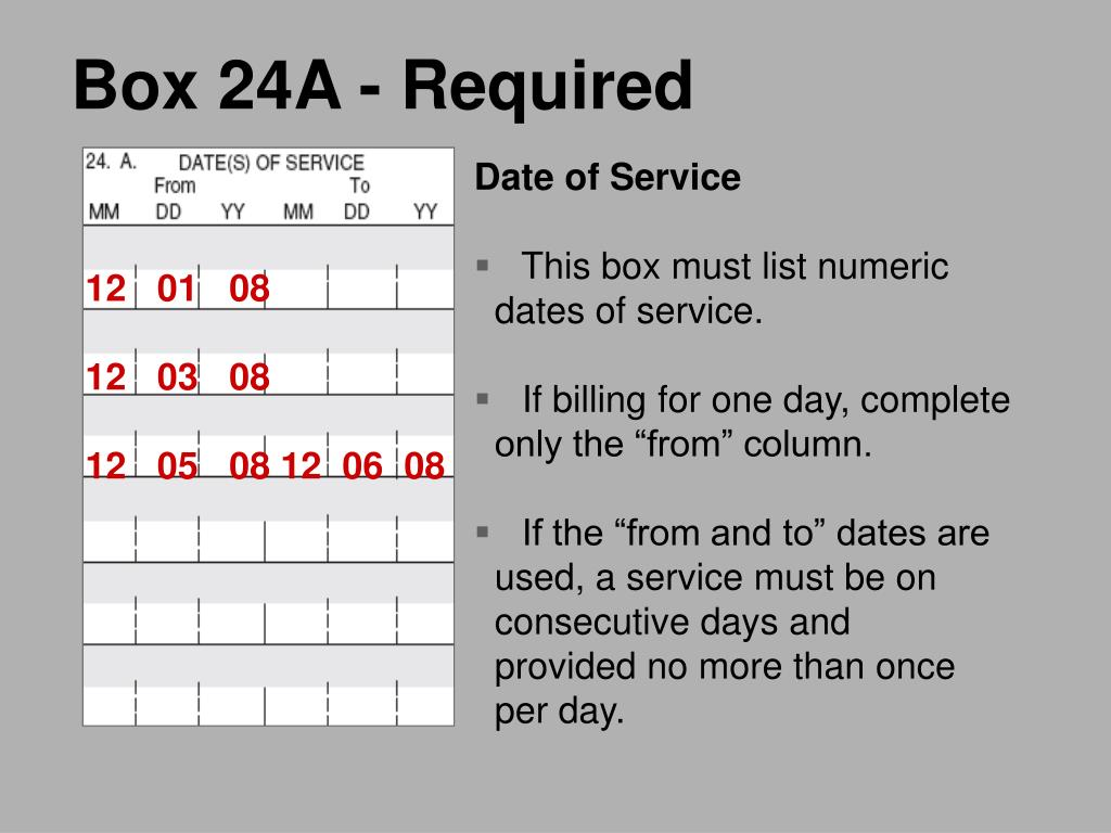 Box 24A - Required