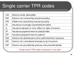 single carrier tpr codes