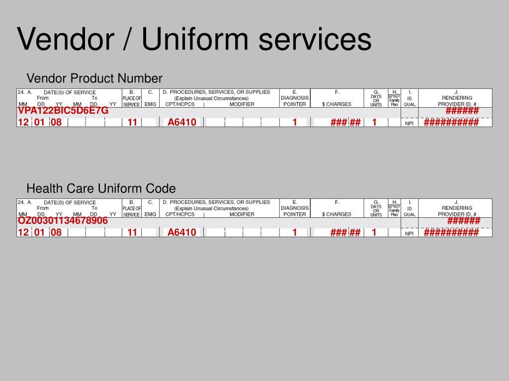 Vendor / Uniform services