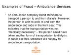 examples of fraud ambulance services