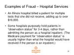 examples of fraud hospital services