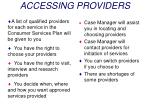 accessing providers