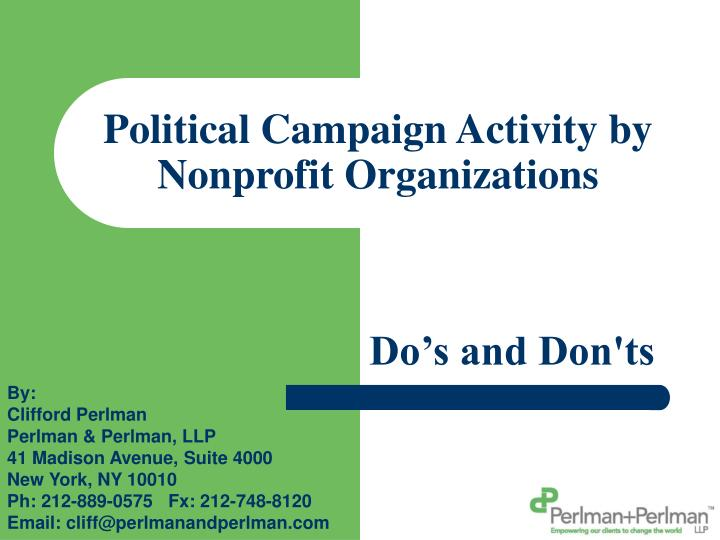 political campaign activity by nonprofit organizations n.
