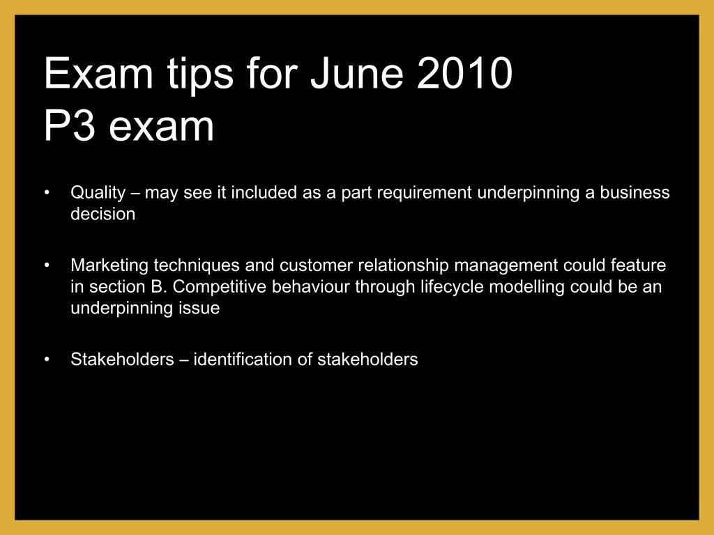 Exam tips for June 2010