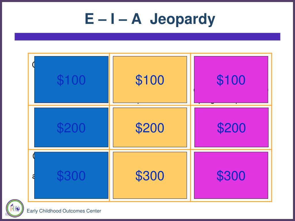 E – I – A  Jeopardy