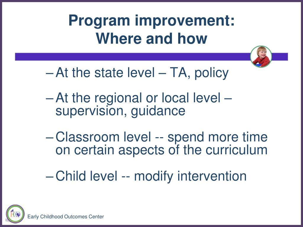 Program improvement: