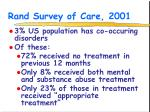 rand survey of care 2001