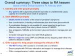 overall summary three steps to ra heaven based on nice clinical guideline 79 february 2009