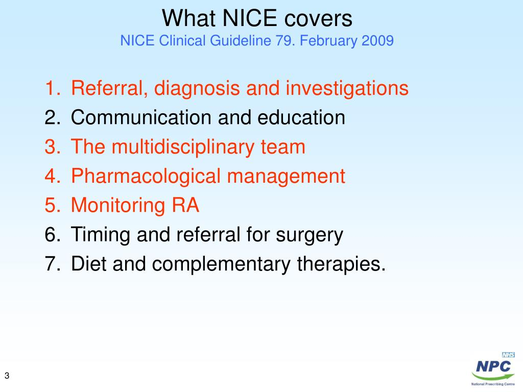 What NICE covers