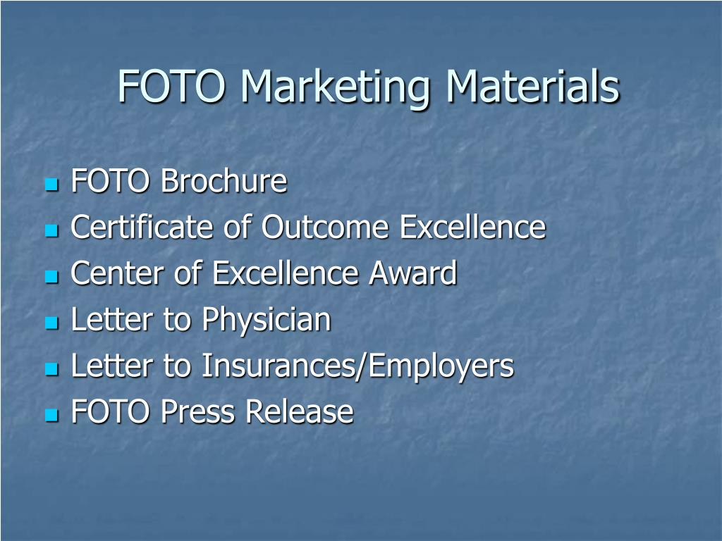 FOTO Marketing Materials